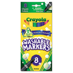 Crayola - washable markers, fine point, classic colors, 8/pack, sold as 1 st