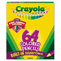 Crayola - colored woodcase pencil, hb, 3.3 mm, assorted, 64/pack, sold as 1 st