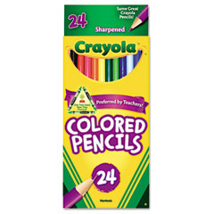 Crayola - long barrel colored woodcase pencils, 3.3 mm, 24 assorted colors/set, sold as 1 st