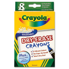 Crayola - dry erase crayons, assorted, 8 per pack, sold as 1 pk