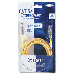 Belkin - cat5e crossover patch cable, rj45 connectors, 7 ft., yellow, sold as 1 ea