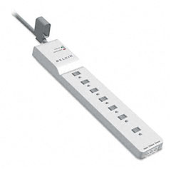 Belkin - home series surgemaster surge protector, 7 outlets, 12ft cord, sold as 1 ea