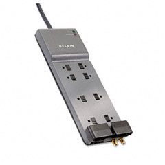 Belkin - office series surgemaster gray surge protector, 8 outlets, 6ft cord, sold as 1 ea