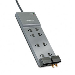 Belkin - office series surgemaster gray surge protector, 8 outlets, 12ft cord, sold as 1 ea