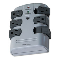 Belkin - pivot plug surge protector, 6 outlets, 1080 joules, sold as 1 ea
