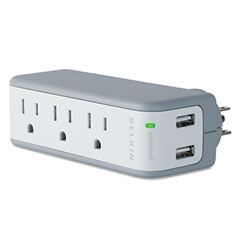Belkin - mini surge protector with usb charger, wall mount, 918 joules, sold as 1 ea