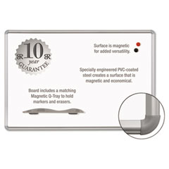 Best-rite - magne-rite magnetic dry erase board, 96 x 48, white, silver frame, sold as 1 ea