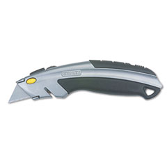 Stanley - curved quick-change utility knife, stainless steel retractable blade, 3 blades, sold as 1 ea