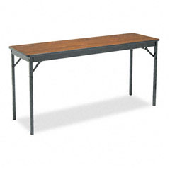 Barricks - special size folding table, rectangular, 60w x 18d x 30h, walnut, sold as 1 ea