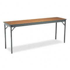 Barricks - special size folding table, rectangular, 72w x 18d x 30h, walnut, sold as 1 ea