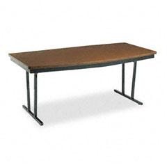 Barricks - economy conference folding table, boat, 72w x 36d x 30h, walnut, sold as 1 ea