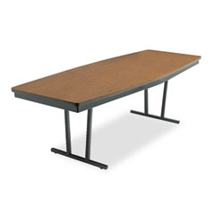 Barricks - economy conference folding table, boat, 96w x 36d x 30h, walnut, sold as 1 ea