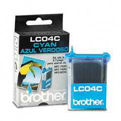 Brother BRTLC04C LC04C Ink, 410 Page-Yield, Cyan