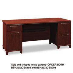 Bush - enterprise double pedestal desk, 70-1/8w x 28-1/2d x 30h, harvest cherry, ctn 1, sold as 1 ea