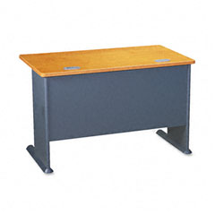 Bush - series a workstation desk, 48w x 26-7/8d x 29-7/8h, natural cherry/slate gray, sold as 1 ea