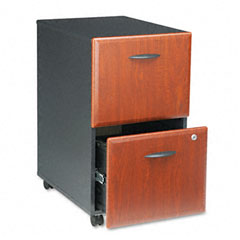 Bush - 2-drawer mobile vertical file, 28-1/4-inch high, hansen cherry/galaxy, sold as 1 ea