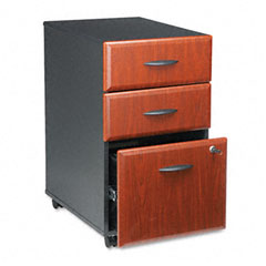 Bush - b/b/f drawer mobile vertical file, 15-5/8w x 20-3/8d, hansen cherry/galaxy, sold as 1 ea