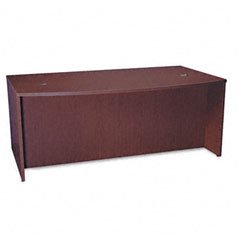 Basyx - bl laminate series bow front desk shell, 72w x 42w x 29h, mahogany, sold as 1 ea