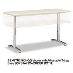 Basyx - rectangular training table top without grommets, 60w x 24d, light gray, sold as 1 ea