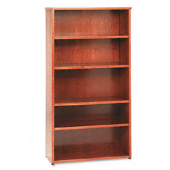 Basyx - bw wood veneer series five-shelf bookcase, 35-5/8w x 13d x 66h, bourbon cherry, sold as 1 ea