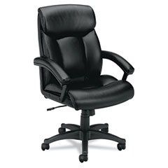 Basyx - vl151 executive high-back chair, black leather, sold as 1 ea