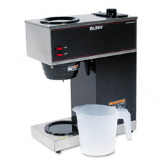 Bunn-O-Matic VPR Pour-O-Matic Two-Burner Pour-Over Coffee Brewer, Stainless Steel, Black