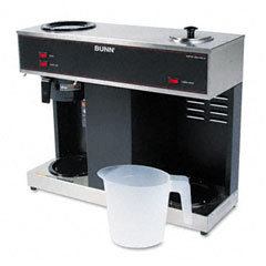 Bunn - pour-o-matic three-burner pour-over coffee brewer, stainless steel, black, sold as 1 ea