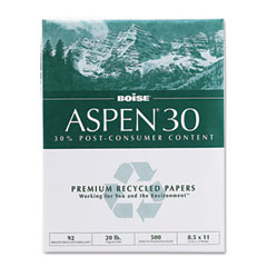 Boise - aspen 30% recycled office paper,92 bright, 20lb, 8-1/2 x 11, white, 5000/carton, sold as 1 ct