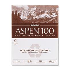 Boise Cascade 054922 Aspen 100% Recycled Office Paper, 92 Bright, 20Lb, 8-1/2 X 11, White, 5000/Ctn