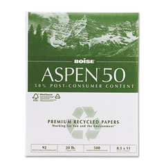 Boise Cascade 055011 Aspen 50% Recycled Office Paper, 92 Bright, 20Lb, 8-1/2 X 11, White, 5000/Ct