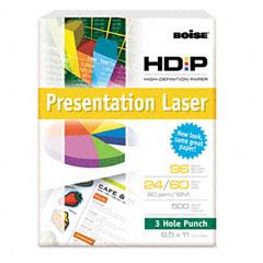Boise Cascade BPL-0111-P Hd:P Presentation Laser 3 Hole Punch Paper, 96 Brightness, 24Lb, Ltr, We, 500/Rm
