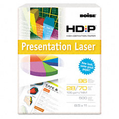 Boise - hd:p presentation laser paper, 96 brightness, 28lb, 8-1/2x11, white, 500/ream, sold as 1 rm
