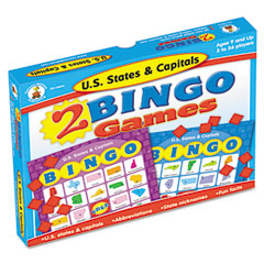 Carson-Dellosa Publishing Two Bingo Games, U.S. States/Capitals, Ages 8 and Up