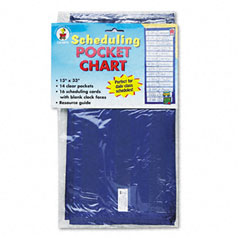 Carson-dellosa publishing - scheduling pocket chart with 16 cards, guide, hanging grommets, 12 x 33, sold as 1 ea