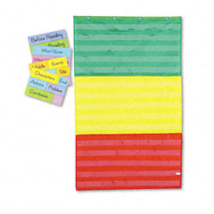 Carson-dellosa publishing - adjustable tri-section pocket chart with 18 color cards, guide, 36 x 60, sold as 1 ea