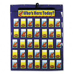 Carson-dellosa publishing - attendance/multiuse pocket chart, 35 pockets/two-sided cards, blue, 30 x 37 1/2, sold as 1 ea