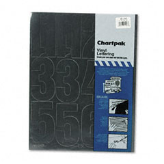Chartpak - press-on vinyl numbers, self adhesive, black, 4-inchh, 23/pack, sold as 1 pk