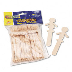 Chenille kraft - people-shaped wood craft sticks, 5 3/8-inch, wood, natural, 36/pack, sold as 1 pk