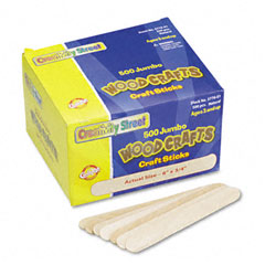Chenille kraft - natural wood craft sticks, jumbo size, 6 x 3/4, wood, natural wood, 500/box, sold as 1 bx