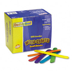 Chenille kraft - colored wood craft sticks, jumbo, 4 1/2 x 3/8, wood, assorted, 500/box, sold as 1 bx