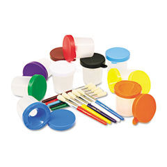 Creativity street - no-spill cups & coordinating brushes, assorted colors, 10/pack, sold as 1 st
