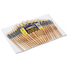Creativity street - preschool brush set, sizes 1-12, natural bristle, flat; round, 24/set, sold as 1 st