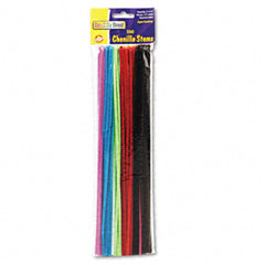 Chenille kraft - regular stems, 12-inch x 4mm, metal wire, polyester, assorted, 100/pack, sold as 1 pk