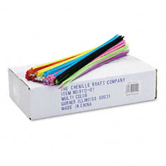 Chenille kraft - regular stems, 12-inch x 4mm, metal wire, polyester, assorted, 1000/pack, sold as 1 pk