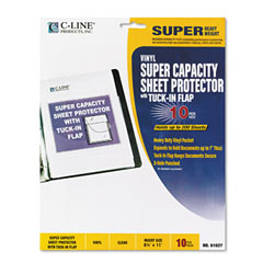 C-line - super capacity sheet protector with tuck-in flap, letter, vinyl, clear, 10/pack, sold as 1 pk