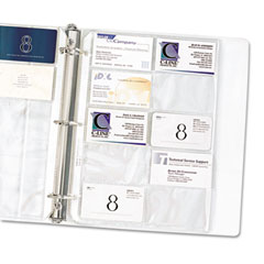 C-line - business card binder pages, 20 3 1/2 cards/page, clear, 10 pages/pack, sold as 1 pk