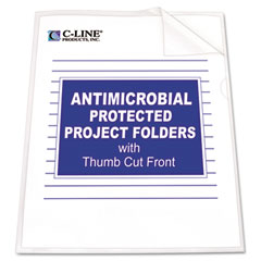 C-line - antimicrobial project folders, jacket, letter, polypropylene, clear, 25/box, sold as 1 bx