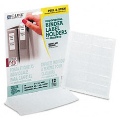 C-line - self-adhesive ring binder label holders, top load, 3/4 x 2-1/2, clear, 12/pack, sold as 1 pk