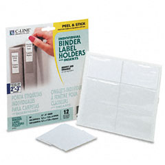 C-line - self-adhesive ring binder label holders, top load, 1-3/4 x 3-1/4, clear, 12/pack, sold as 1 pk