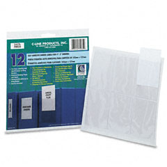 C-line - self-adhesive ring binder label holders, top load, 2 1/4 x 3, clear, 12/pack, sold as 1 pk